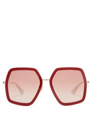 Gucci Geometric Frame Acetate And Metal Sunglasses Red