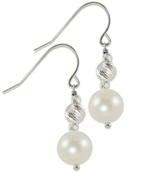 Macy's Cultured Freshwater Pearl And Rhodium Plated Sparkle Bead Earrings In Sterling Silver 8Mm