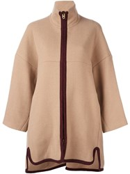 Chloe Contrast Zip Coat Nude And Neutrals