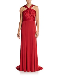 Vera Wang Ruched Empire Gown Scarlet