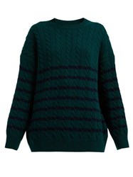 Loewe Oversized Striped Cable Knit Wool Sweater Green Multi