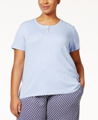 Nautica Plus Size Henley Ribbed Knit Pajama T Shirt Light Blue
