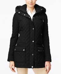 Calvin Klein Faux Fur Trim Hooded Quilted Coat Black