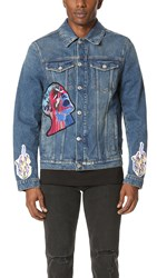 Msgm Denim Jacket With Patches Blue