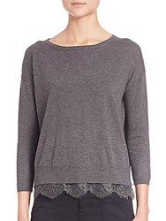 Joie Hilano Lace Hem Sweater Dark Heather Grey