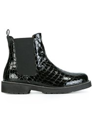 Twin Set Embossed Crocodille Effect Chelsea Boots Black