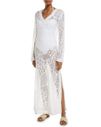 Letarte Cascade Lace Long Sleeve Coverup Dress White