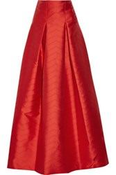 Alexis Sury Perforated Satin Twill Maxi Skirt Tomato Red