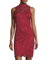 Neiman Marcus Mock Neck Lace Cocktail Sheath Dress Red