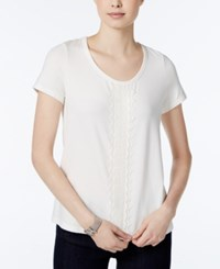 Tommy Hilfiger Short Sleeve Embroidered Top Only At Macy's Ivory