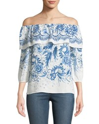 Bailey 44 Farmers Market Off The Shoulder Printed Cotton Top Blue