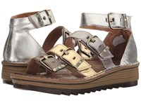 Naot Footwear Begonia Pewter Leather Gold Leather Satin Gold Leather Silver Luster Women's Sandals