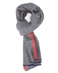 Hartford Blue Grey Red Square Print Wool Scarf