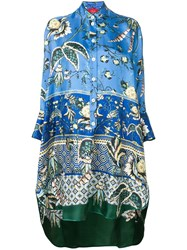 F.R.S For Restless Sleepers Tropical Print Drape Tunic Blue