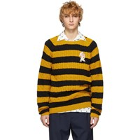 Gucci Black And Yellow Striped Embroidered Pig Sweater