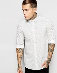 Asos Shirt With Long Sleeve And Polka Dot Print White