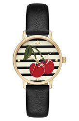 Kate Spade Women's New York Metro Wine And Dine Leather Strap Watch 34Mm Black Cherry Print Gold