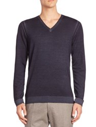 Strellson V Neck Virgin Wool Sweater Navy