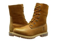 Timberland Authentics Teddy Fleece Fold Down Wheat Rugged Metallic Finish Women's Lace Up Boots Brown