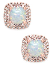 Macy's Lab Created Opal 3 4 Ct. T.W. And White Sapphire 1 3 Ct. T.W. Square Stud Earrings In 14K Rose Gold Plated Sterling Silver
