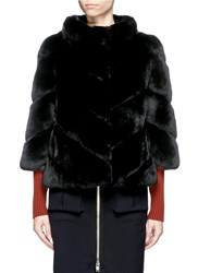 Yves Salomon Leather Trim Chevron Panel Rabbit Fur Coat Black