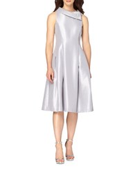 Tahari By Arthur S. Levine Sleeveless Midi Fit And Flare Dress Silver