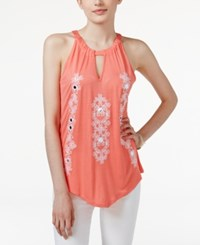 Inc International Concepts Embroidered Halter Top Only At Macy's Rose Coral
