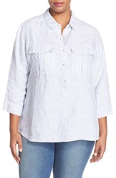 Plus Size Women's Caslon Print Three Quarter Sleeve Shirt Blue Ticking Stripe