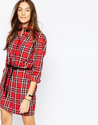 Jack Wills High Neck Shirt Dress In Christmas Tartan Red