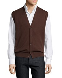 Luciano Barbera Cashmere V Neck Sweater Vest Brown