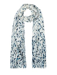 Jigsaw Dancing Cornflower Silk Scarf Cream