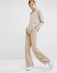 Paisie Wide Leg Trousers With High Waist And Side Pockets Light Camel Tan