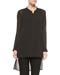 Eileen Fisher Long Sleeve Sheer Silk Long Shirt Petite Black