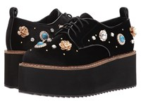Shellys Flora Platform Oxford Black Women's Lace Up Casual Shoes