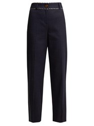 Peter Pilotto Piped Straight Leg Trousers Navy