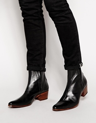 Jeffery West Leather Heel Chelsea Boots Black