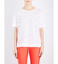 Adidas By Stella Mccartney Zebra Print Cotton Blend Jersey T Shirt White