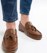 Asos Design Wide Fit Tassel Loafers In Tan Leather With Fringe And Natural Sole