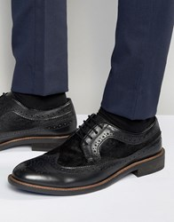 Dune Pony Hair Brogues In Black Leather Black