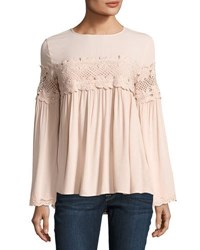 Lumie Lace Inset Bell Sleeve Top Blush
