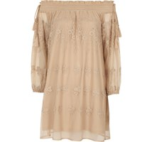 River Island Womens Nude Floral Embroidered Smock Swing Dress