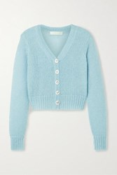 Loveshackfancy Folley Metallic Open Knit Cropped Cardigan Sky Blue