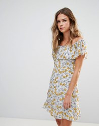 Goldie Floral Frilly Off Shoulder Dress Multi