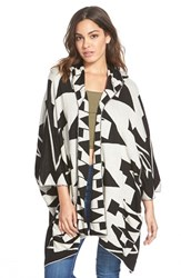 Junior Women's Billabong 'Enchanted Ways' Geometric Pattern Poncho Cardigan Black White