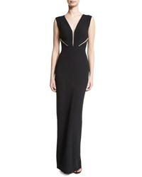 Pamella Roland Plunging Illusion Crepe Gown Black
