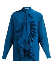 Givenchy Pleated Tie Silk Crepe De Chine Blouse Blue