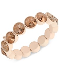 Betsey Johnson Pink Plated Patina Crystal Stretch Bracelet