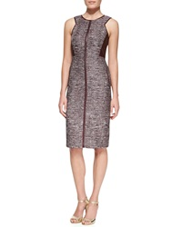 J. Mendel Sleeveless Sheath Dress With Leather Panels Port Multi