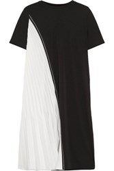 Dkny Two Tone Stretch Jersey And Plisse Satin Dress Black