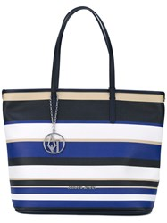 Armani Jeans Striped Shopper Tote Women Cotton Polyester Polyurethane Pvc One Size Blue